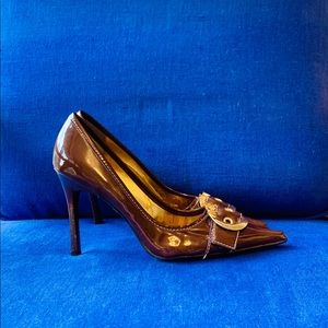 Bakers Brown Patent Leather Buckle High Heel Pump